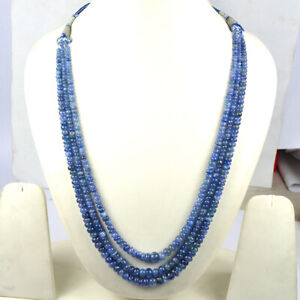 Natural Certified Violet Blue Tanzanite 3 Line Necklace Round Cab Beads Gemstone