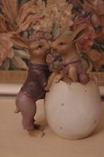 Kissing Bunny Rabbits in Egg Vintage Style Figure Statue Easter Spring New
