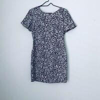 Liz Claiborne Black White Gray Silk Dress Size 6 Petite Womens