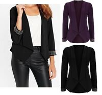 Womens Ladies Wallis Blazer Jacket Waterfall Plum Black Dinner Jacket Party Size