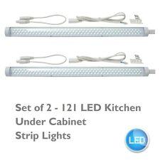 Set of 2 Linkable 555mm LED Kitchen Under Cabinet Display White Strip Lights Kit
