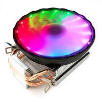 3 Pin CPU Cooler 2 Heatpipes Silent 12V RGB Fan Led For LGA 1155/1151 AMD