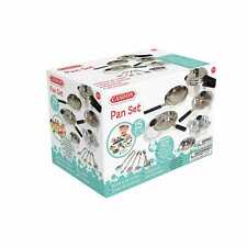 Casdon Little Cook Kitchen Silver Pan Set Pretend Play Toy With Chrome Effect 3