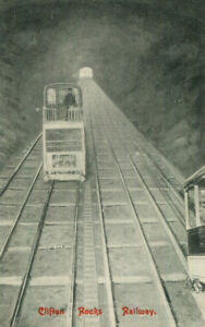 1910s postcard Clifton Rocks Railway passenger car descending BRISTOL