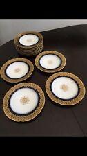 11 French Limoges Cobalt Blue Gold Encrusted Dinner Cabinet Plates Set
