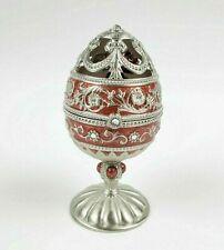 Jane Seymour Burgundy Silver Jeweled Enamel Hinged Egg Music Box Rotating Roses