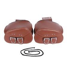 Brown PU Leather Side Saddle Bag Fit Kawasaki Vulcan Classic Custom 1700 900 800