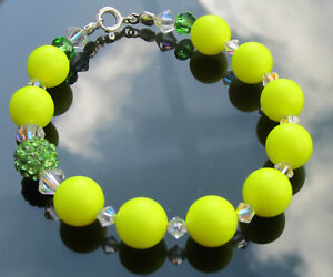 Swarovski Elements Yellow Pearl Bracelet with 925 Sterling Silver Ends and Clasp