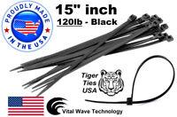 "1000 Black 15"" inch Wire Cable Zip Ties Nylon Tie Wraps 120lb USA Made Tiger Tie"