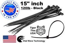 "500 Black 15"" inch Wire Cable Zip Ties Nylon Tie Wraps 120lb USA Made Tiger Ties"