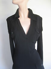 GUCCI  ITALY FORM FITTING  BLACK STRETCH  FLOOR LENGTH GOWN MAXI DRESS