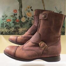 NWB WOMENS HOGAN BROWN LEATHER SHORT AVIATOR ZIP BOOTS SIZE 11/41 MADE IN ITALY