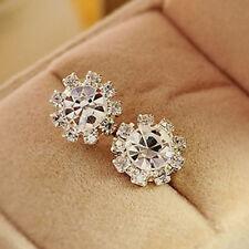 Elegant Women Ladies Crystal Rhinestone Ear Stud Pierced Earrings Jewelry Gift