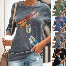 Womens Dragonfly Print Shirt Loose Blouse Long Sleeve T-Shirt Ladies Casual Tops