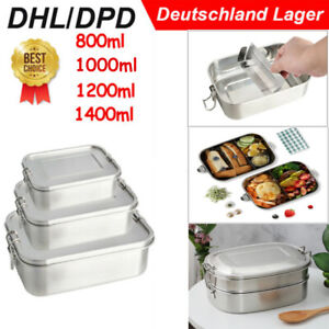 800 -1400ml Brotdose Bento Box Schulkinder Brotzeitbox Edelstahl Reisen Lunchbox