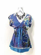 Hale Bob Empire Waist Floral Velvet Burnout Beaded Aqua Silk Top Size Medium EUC