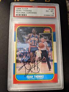 1986 Fleer Isaiah Thomas RC #109 Signed Auto Autograph Isiah 1987 Rookie PSA DNA