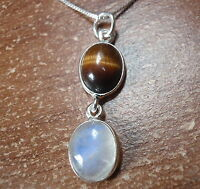 Tiger Eye & Moonstone Double Gem 925 Sterling Silver Pendant Corona Sun Jewelry