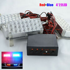 4 x 22LED Car Vehicle Flashing Strobe Recovery Lights for Front Grille Blue&Red