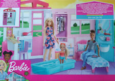 Barbie Dollhouse Portable 1-Story House  Playset with Pool + Accessories