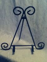 "12"" Ornate Black Iron Metal Art Easel Display Stand Cook Book Plate Holder Arm"