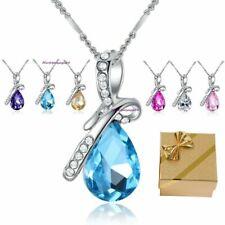 Tropfen Anhänger Halskette 6 Farben Swarovski Elements Glück Geschenke Frauen