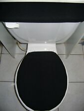 SOLID Black Fleece Fabric - Elongated Toilet Seat Cover Set
