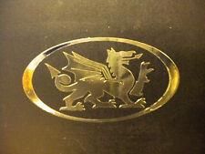 1 x Chrome Effect Oval Welsh Dragon Car Sticker