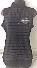 "Harley-Davidson Women's S/L Gray & Black Striped zip vest ""fast Blast"" 2XL"