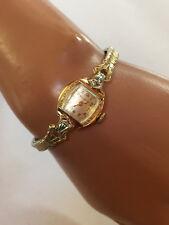 "ART DECO Bulova ""Beverly"" Armbanduhr für Damen gelbgold 10 K RGP 2 Diamanten"
