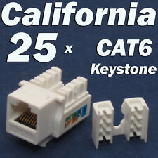 25 X Pcs lot Keystone Jack CAT6 White Network Ethernet 110 Punch Down 8P8C RJ45