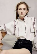 Isabel Marant Etoile NWT Delphine Embroidered Ecru Linen Top 42 Ruffle Collar