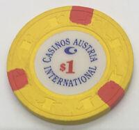 Casinos Austrias International - $1 Gaming Chip - Yellow H&C SCV