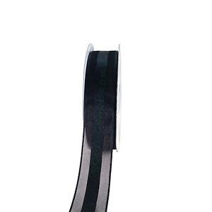 "Sheer Organza with Satin Center Ribbon Stripe 25 Yards Roll 3/8"" 5/8"" 7/8"" 1.5"""