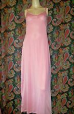 Vintage Olga Pink Formal Length Silky Nylon Tricot Slip Nighty Gown Lingerie 32
