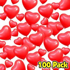 Pack of 100 Small & Large Red Heart Shaped Latex Valentine's Day Balloons