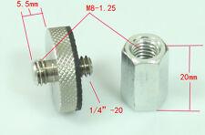 "Metal Adapter unit M8-1.25 Female to 1/4""-20 male for tripod head camera monpod"