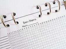 Personal size planner inserts refill daily habits - filofax day-timer kikki k