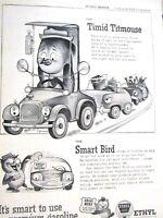 "1955 Ethyl Gas The Timid Titmouse-The Smart Bird Original Print Ad-9 x 11"""