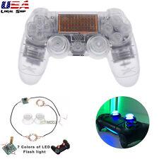 Transparen Full Set Kit Shell Buttons Led Light Joystick Caps for PS4 Controller