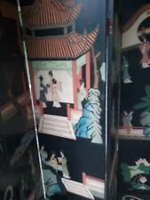 "Vintage Hand Painted Oriental Room Divider Screen 73"" x 78"""