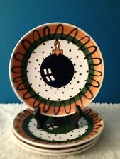 """Country Originals Inc. Hand Painted  8"""" Christmas  Plates Made in Honduras (4)"""
