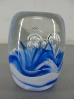 HAND BLOWN CLEAR BLUE WHITE 🌊 ART GLASS PAPERWEIGHT CYLINDER SHAPE BUBBLES VTG