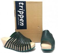 TRIPPEN Strahl Modern Leather and Wood Clog Sandals Black Petrol Size EU 38
