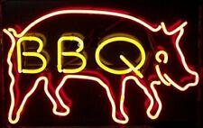 "New Pig Bbq Open Right Beer Bar Neon Light Sign 24""x20"" Artwork Glass"