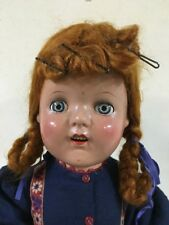 """Antique Vintage Doll 20"""" Red Hair Sleepy Blue Eyes Open Mouth Marked 20*"""