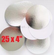 "25 x 4"" inch ROUND SILVER THIN CUT EDGE cake boards cards sugarcraft CULPITT"