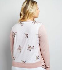 NEW LOOK ~Curves~ Pink Sheer Embroidered Back Cardigan ~ UK Size 22