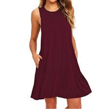 0d73819434 Women Pocket Loose Vest Swing Dress Sleeveless Casual.