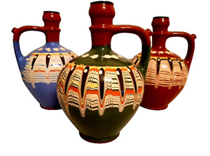 TRADITIONAL BULGARIAN JUG/PITCHER TROYAN PATTERN POTTERY - 2 LITRES-UNIQUE GIFT